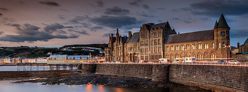 Old College, Aberystwyth, at sunset