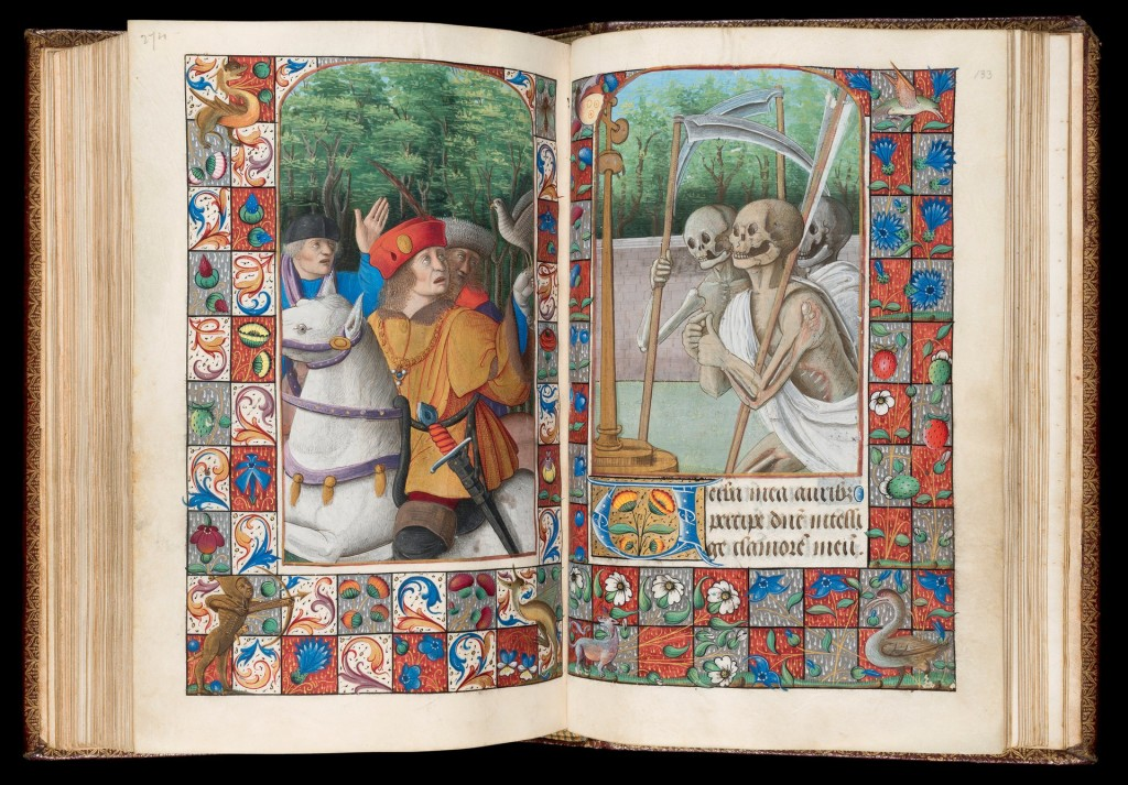 Book of Hours, Use of Rome, The Three Living and the Three Dead, Western France, c.1490-1510. Photograph: Michael Jones/The Fitzwilliam Museum