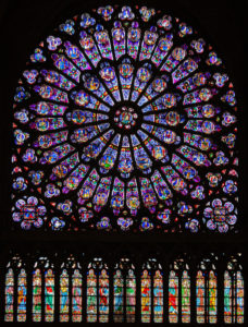 The north rose window of Notre Dame, Paris. Built in 1250 AD